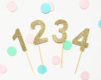 Glitter cup cake toppers - pack of 12. Numbers or letters