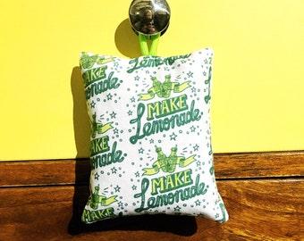 Make lemonade - hand printed lavender bag (hand drawn typographic pattern)