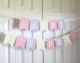 Gold, Pink, Purple, Ivory Happy Birthday Banner/ Girl Birthday/ Princess Party/ Party Decorations/ Custom Name/ Personalized Banner