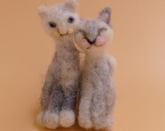 Cat Buddies :  Needle Felted Wool Sculpture