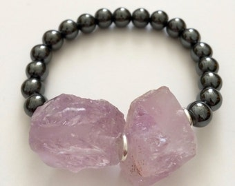 Hematite and Amethyst - 8mm and Raw Semi Precious Stones Bracelet
