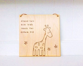 Large wood burned giraffe sign | pyrography | wood burned sign | giraffe art | Inspirational gift | Customisable