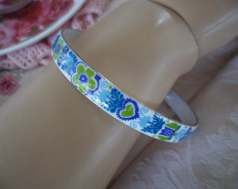 vintage blue white green purple flower enamel metal bangle Lotte floral style pattern
