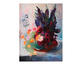 Bouquet of Red Blue and Orange Flowers - Abstract Floral Still life - Large Format Oil Painting - Beautiful Flower Art, Modern Impressionist