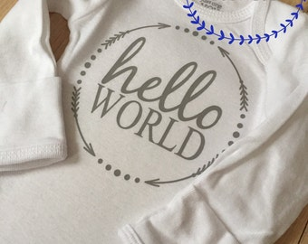 Hello world onesie, new baby, baby onesie, coming home outfit, baby gift