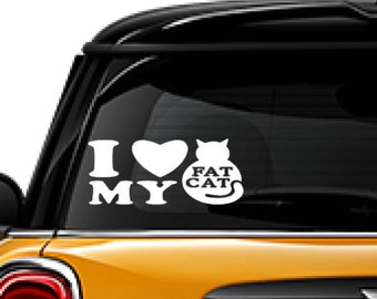 Love my Fat Cat decal, FREE SHIPPING, pet decal, home decor decal, cat decal, love decal