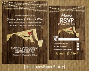 State of Maryland Destination Wedding Invitations,Rustic,Gold Glitter Print,Strands of Lights,Red Heart,Opt RSVP,Customizable With Envelopes