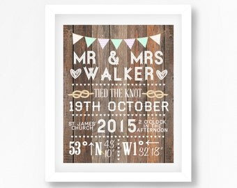 Gift for Newlyweds, Wedding Gift for Couple, Personalized Mr and Mrs Gift, Bride Groom Wedding Print, OOAK Wedding Present for The Home