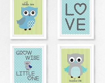 Baby Boy Owl Nursery Art Print, Blue and Green Owl art, Green and Blue owl christening gift, Baby boy nursery decor print