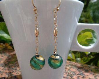 Gold Earrings with Murano glass in green-gold, 585 goldfilled