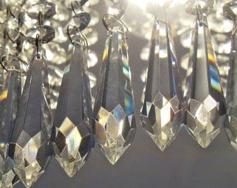 6 XXL 115mm Chandelier Drops Parts Glass Icicles Crystals Droplets Beads French Antique Retro Christmas Tree Decorations Light Lamp Parts