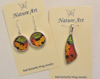 real butterfly wing jewelry, real butterflies in jewelry, butterfly wings in jewelry, silver butterfly wing jewelry, urania ripheus, sunset