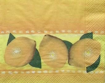 Set of 3 pcs 3-ply Lemon paper napkins for Decoupage or collectibles 33x33cm, Citrus napkins