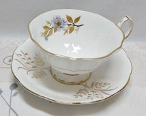 Vintage Queen Anne Bone China Duo ~ Mismatched Cup And Saucer ~ Flowers & Leaves ~ Grey, Pink,Gold And Black On White