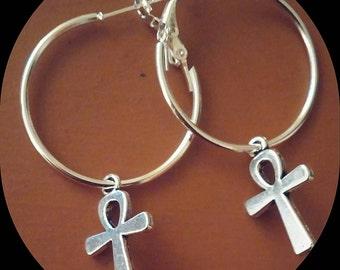 Silver Ankh Hoop Earrings