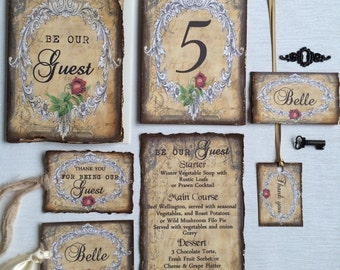 "Booking deposit for ""Be our guest"" fairytale  wedding invitations, Day/Evening Handmade to order Disney Wedding"