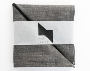 Linen pocket square brown grey with gloss - double sided dark grey - mens fashion accessory - men handkerchief - wedding accessory