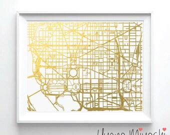 Washington DC Downtown Street Map Gold Foil Print, Gold Print, Map Custom Print in Gold, Art Print, Washington DC Map Gold Foil Print