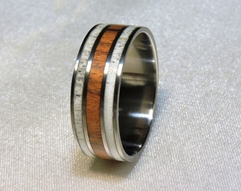Deer Antler, Titanium Ring, Santos Rosewood and  Deer Antler inlay, Mens Wedding Band Antler