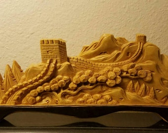 Vintage Wooden Carving of the Great Wall of China