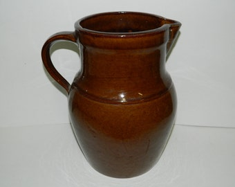 """Old Antique Large Brown Stoneware  Pitcher marked 1-1/2 on bottom 11-1/2"""" Tall weighs 9 pounds"""