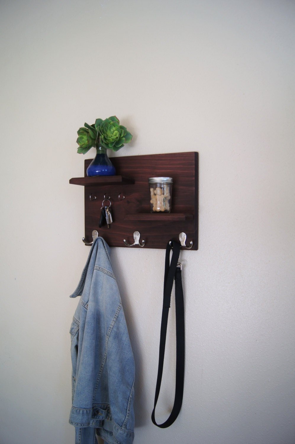 Floating shelves with coat and key hooks hallway wall Wall mount entryway organizer mirror hallway coat rack key cabinet