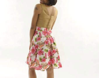African Clothes .Purple and pink Flower Print Dress