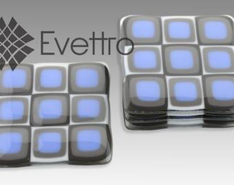 Lilac Blue Retro Squares Fused Glass Coasters, Set of 4