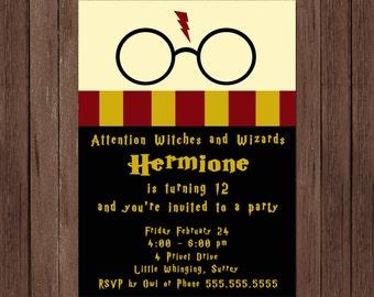 Harry Potter Birthday Invitation Gryffindor Digital File Printable Customized