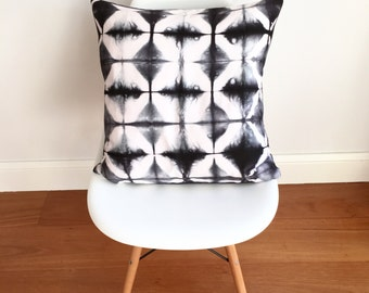 Blurred Lines - Black shibori cushion