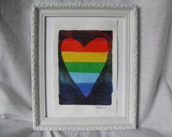 "Rainbow Heart Print Size 5 x 7"""