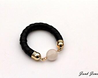 Leather bangle/crystal jewellery/moonstone jewellery/handmade/minimalist/black/leather jewelry/gift for her