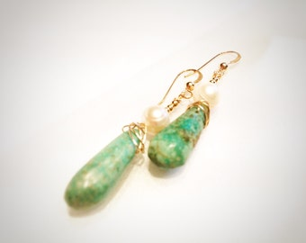 Turquoise earrings with 14k gold fill and freshwater pearls