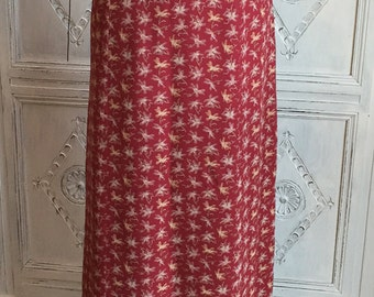 Vintage Laura Ashley Red Floral Print Maxi Skirt - 1990s Made in UK Size 14-16