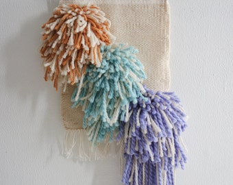 Cream, Mustard, Turquoise, and Purple Woven Wall Hanging/Weaving