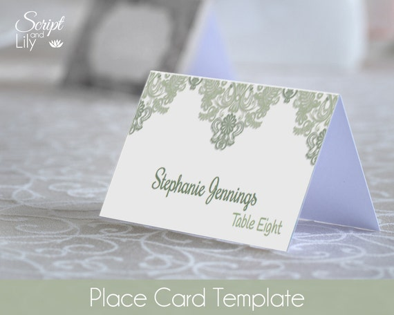 sage green place name cards template easy to edit print at