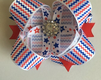 Independence Day Boutique Stacked Hairbows- 4th of JulyHairbows- July 4th Hairbows- 4th of July Bows- 4th of July Bow- July 4th Bows-