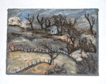 Needle Felt Landscape ,Embellished Artists Impression of Your Photo
