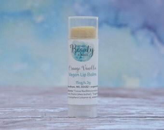 Natural Vegan Lip Balm - All Natural Lip Balm - Vegan Chapstick - Vanilla Lip Balm - Orange Lip Balm - Vegan Gift Ideas - Gifts Under 10