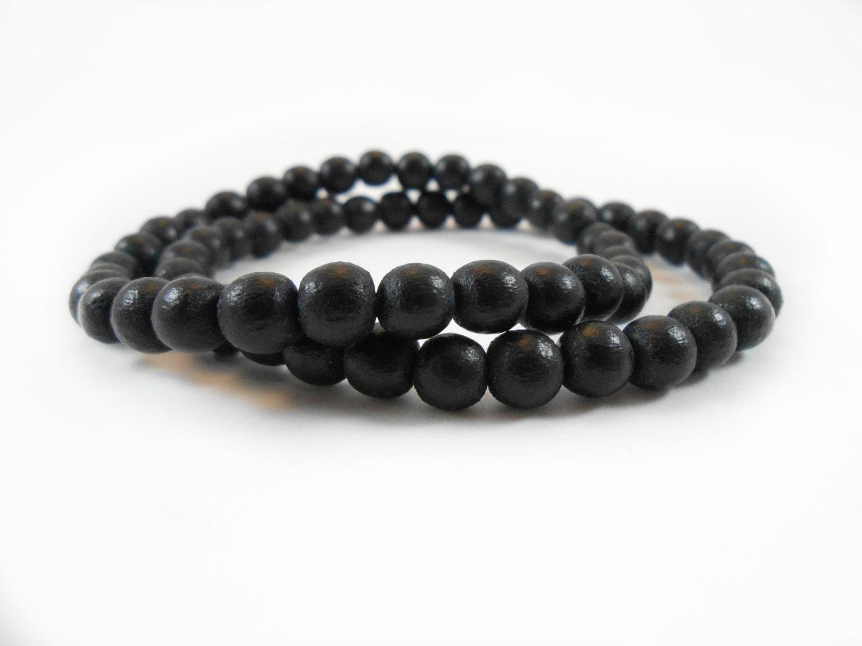 black wood bracelet wooden bead bracelet 6mm black wood