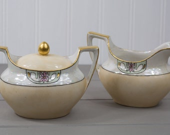Antique RS Germany Art Deco Pearlized Gold Trimmed Sugar and Creamer Set, Hand Painted German Creamer & Sugar Bowl Set