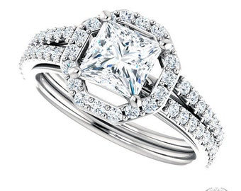 Princess Cut Halo Engagement Ring - 1.58ctw Princess Cut Forever Brilliant Moissanite and Diamonds