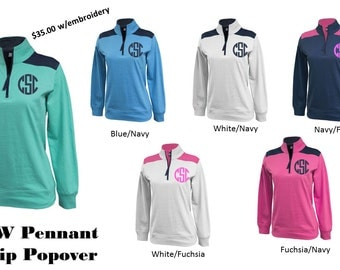 NEW Monogram Pennant 1/4 Zip Popover - Embroidery Included!