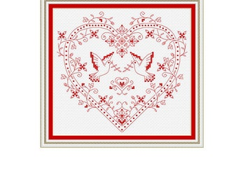 love doves cross stitch pattern, love, dove, counted cross stitch, wedding, gift for the wedding