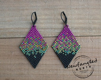 Large Pixelated Aurora Borealis Earrings