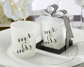 Mrs and Mrs - Candle holder - Candle - Wedding Shower - Bridal Shower - Party Favor - Wedding Favor - Wedding Gift - Mrs - Mr