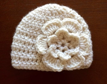 White Flowered Baby Girl Hat
