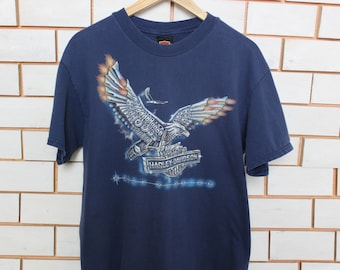 Worn Blue Wyoming Harley Davidson Metal Warrior T-shirt Large