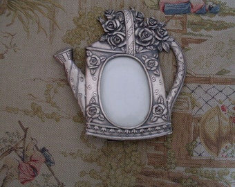 """Vintage Pewter Look Picture Frame Watering Can with Flowers 5"""" x 5"""""""