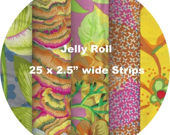 """Quilters Jelly Roll 2.5"""" X 44"""" (6.5cm x 110cm) strips x 25 - Kaffe Fassett Collective 2016 - YELLOW #1"""